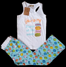 NWT MACAROON TURQUOISE WOMEN'S PAJAMA 2 PC PJ SET RACER TANK TOP LOUNGE PANTS L