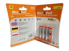 4 x Aufladbare Batterien Akku Accu Batterie MaxCell 2400 mAh AAA R03 1.2V NI-MH