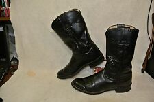 Justin Black Leather Western Cowboy Roper Boots Men`s 5 1/2 A Made in USA