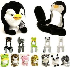 Plush Unisex Animal full Hood 3D long hat scarf mittens soft thermal warm new