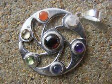 Placcato argento grano circolo motivo 7 cabochon cristallo chakra