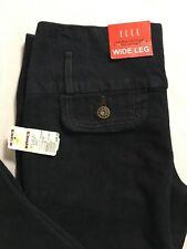Elle Jeans Size 2 Low Rise Wide Leg 28x33 Dark Wash Stretch Denim NWT