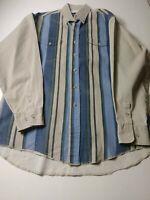 Vintage Wrangler X Long Tails Mens Western Shirt Size 16.5 35 Beige Stripe