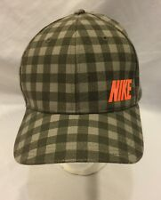 Nike Golf Spell Out Green Plaid with Orange Swoosh Hat Cap Size M/L