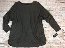 INC Womens Sweater 1x Green Tunic Shirttail Hem Loose Fit Wool Blend Plus Size