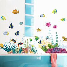 Océano Peces Vinilo Adhesivo de Pared Extraíble Arte Guardería Niños Baño Decor