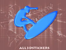 3D Sticker Decal Resin Domed Surfer Surf Adhesive Decal  Light Blue