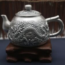 Healthy 999 Sterling Silver Art Full Handmade in Block Teapot , Dragon Pattern