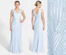 NWT Adrianna Papell Beaded Mesh V-Neck Trumpet Gown Icy Blue [SZ 16] #N753