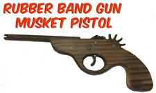 Rubber Band Timber Musket Pistol Gun Launcher Wooden Toy BRAND NEW