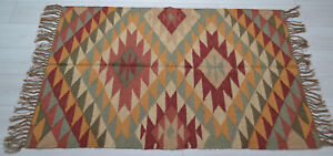 Kilim Rug Wool Jute Indien 150x90cm 5x3' Kelim Maroon Brown Handmade Style AFGAN