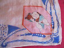 Vintage Small Silk Samurai Type Child's Handkerchief Hankie Blue White Trim