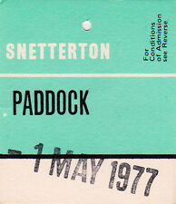 Snetterton Paddock Entry Swing Ticket  1 May 1977
