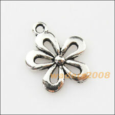 12 New Flower Star Tibetan Silver Tone Charms Pendants 15x18mm