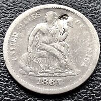 1865 S Seated Liberty Dime 10c San Francisco RARE High Grade XF Details #15126