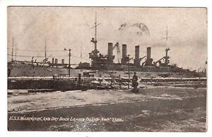 Postcard: USS Washington and Dry Dock League Island, NY - Postmark 1908