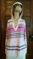 New York & Company Large Hooded Long Sleeve Blouse Acrylic Pink Grey Striped