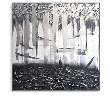 Leinwand Bild ORIGINAL Abstrakt HANDGEMALT Wandbild XXL Bilder Acrylbild Grau