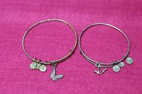 Lot Of 2 Alex And Ani Expandable Bangle Bracelets 1 Butterfly and 1 Dove