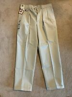 NWT Men's Savane Classic Fit No Wrinkles Pleated Tan Pants Size 34 x 30
