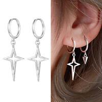 Solid 925 Sterling Silver Sleeper Hoop 4 Point Star Charm Drop Circle Earrings