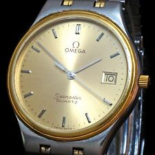 Stunning Omega Seamaster Quartz Two Tone Man's Wristwatch, Xlnt Orig No Reserve!
