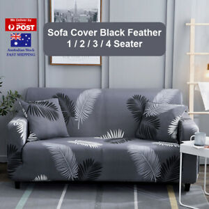 Sofa Cover Black Feather Couch Covers 1 2 3 4 Seater Lounge Slipcover Protector