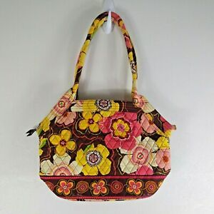 Vera Bradley Buttercup Shoulder Hobo Bag Quilted Brown Pink Yellow 11 X 15