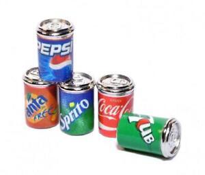Dolls House 5 Soda Pop Cans Tins Miniature 1:12 Metal Pub Drinks Shop Accessory