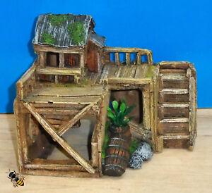 Aquarium Ornament Wooden House Hut Hide Fish Tank Bowl Decoration Classic New