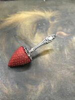 ANTIQUE STERLING SILVER STRAWBERRY PIN CUSHION SEWING VICTORIAN RARE LOVELY