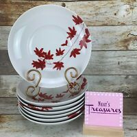 Mikasa PURE RED Porcelain SL134 White Red Flowers Coupe Soup Bowls Set of Seven
