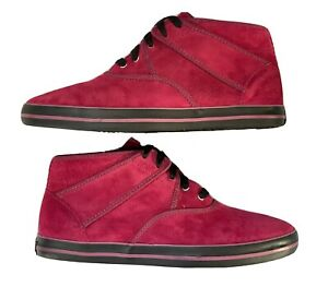 Vans X Eric Elms Burgundy Leather Suede Sneaker Shoes Size 10.5