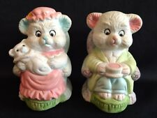Vintage Porcelain Bear Family Mama and Papa Bear Sitting on Chairs with baby