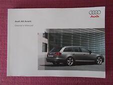 AUDI A6 AVANT ESTATE (2008 - 2011) OWNERS MANUAL - GUIDE - HANDBOOK. (AU 578)