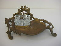 """Vintage Victorian Style Brass & Glass Inkwell, 9"""" wide x 2 3/4"""" high"""