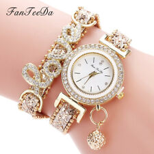 Women's Watch Crystal Alloy Analog Love Quartz Bracelet Dress Wrist Watches Gift