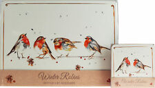 Set Of 4 Winter White Robin Christmas Dinner Place Mats And Coasters