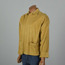 Xxl 1950s Pilgrim Wide Wale Corduroy Shirt Gold Yellow Vtg Patch Pockets