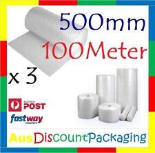 3x 500mm x 100M Bubble Cushioning Wrap Roll Clear 10mm Bubbles Premium Quality