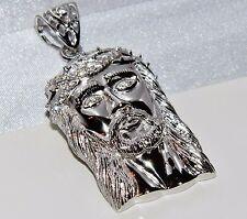 Sterling Silver Jesus Head Stone Set Heavy Pendant - UK Hallmarked