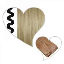 10 Tape Extensions Wavy Champagne Blond #22 55 Cm Real Hair Skin Weft Tresses