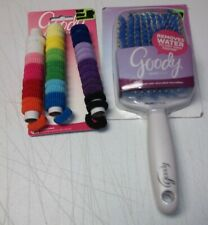 Goody lot QuikStyle Paddle Hair Brush Anti Microbial Microfiber + 42 ponytailers