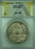 1894 Peso Guatemala ANACS AU 58 Toned 1 Peso Silver Coin KM#210