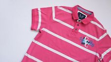 Crew Clothing Polo Shirt men Short Sleeve Top Size L Large pink white Striped