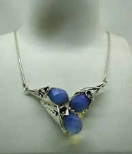 Beautiful Heavy Large Silver And Transluscent Blue Stone Necklace