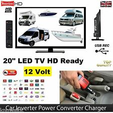 "12 VOLT TV 20"" FREEVIEW AND RECORD 12v Inverter Package IDEAL SELF BUILD CAMPER"