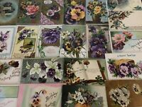Nice~LOT of 25 ~Pansies~PANSY~Flowers Floral~Greetings Postcards-In Sleeves-a576