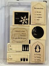 Stampin Up TAG LINES wood mount stamps Christmas tags to from