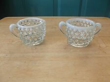 Fenton Hobnail Opalescent Glass Individual Creamer and Sugar Bowl